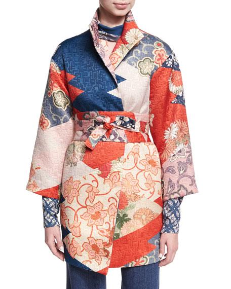 Josie Natori 3/4-Sleeve Patchwork Kimono Jacket