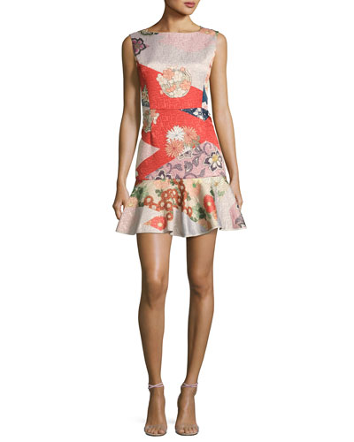 Sleeveless Patchwork-Print Ruffle-Hem Cocktail Minidress