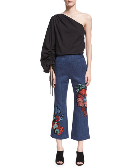 Embroidered Kick-Flare Ankle Jeans