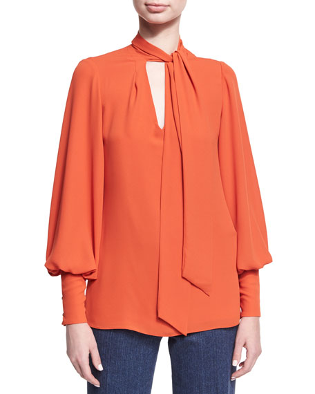 Josie Natori Long Bishop-Sleeve Tie-Neck Silky Blouse
