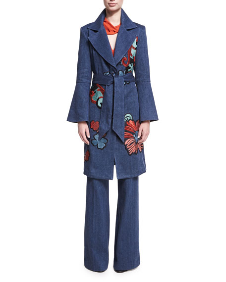 Josie Natori Embroidered Denim Trench Coat