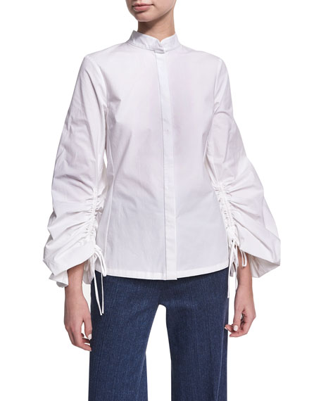 Josie Natori Balloon-Sleeve Poplin Top
