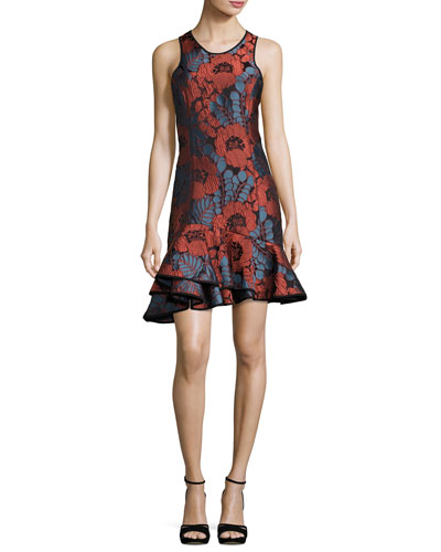 Sleeveless Floral Plissé Jacquard Ruffle-Hem Dress