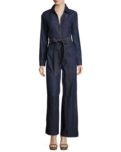 Long-Sleeve Zip-Front Denim Jumpsuit, Dark Blue