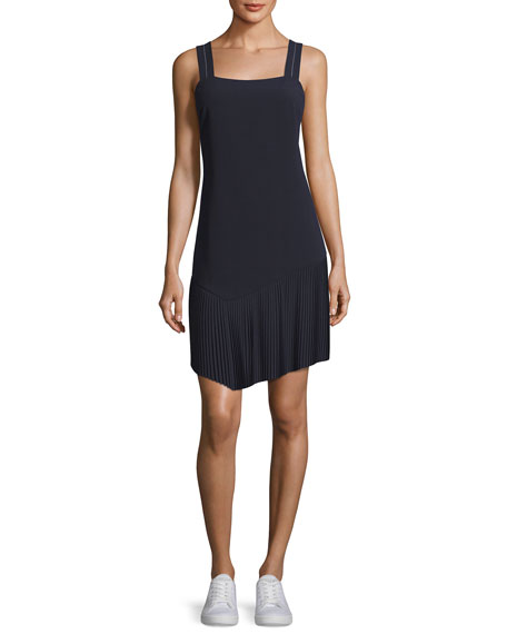 Jason Wu GREY Tank Dress w/ Asymmetric Pleated Hem, Midnight