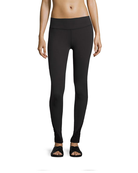 Down The Line Shirred-Sides Performance Legging, Jet