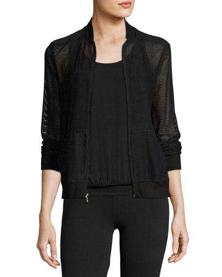 Beyond Yoga So Bomber Mesh Athletic Jacket, Black