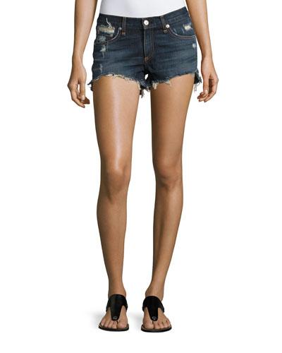 Cutoff Distressed Denim Shorts, Indigo