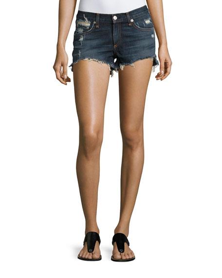 rag & bone/JEAN Cutoff Distressed Denim Shorts, Indigo