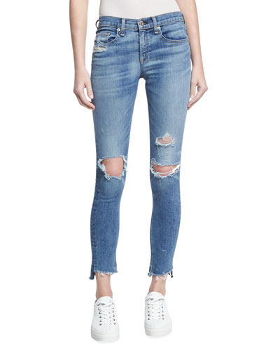 Low-Rise Distressed Denim Jeans, Indigo
