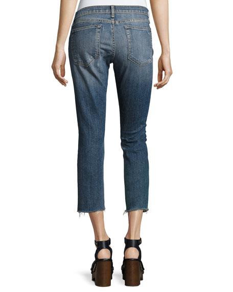 Dre Capri Distressed Denim Jeans, Indigo