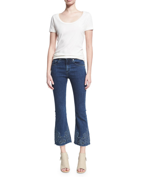 Mid-Rise Crop Flare Embroidered Jeans, Indigo