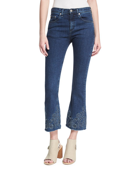 rag & bone/JEAN Mid-Rise Crop Flare Embroidered Jeans,