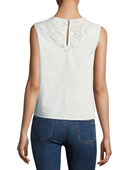 Sahara Embroidered Cotton Tank, White