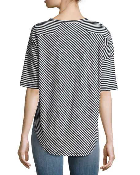 Valley Striped Relaxed Tee, Blue Pattern
