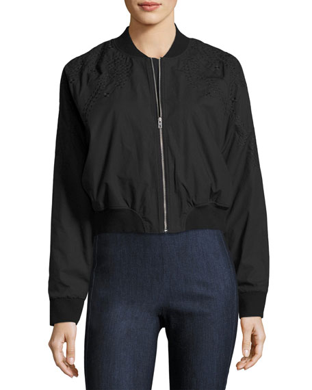 Bristol Embroidered Bomber Jacket, Black