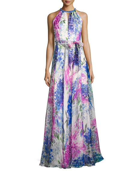 Carmen Marc Valvo Sleeveless Abstract Floral Silk Gown,