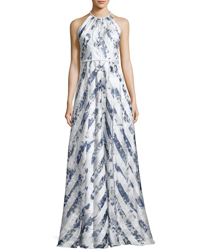 Sleeveless Satin Floral Stripe Gown, Blue