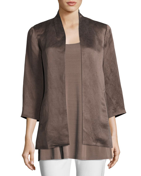 Eileen Fisher Organic-Linen/Silk Satin Jacket, Plus Size