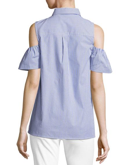 Cold-Shoulder Striped Flounce Button-Front Top, Tide Blue