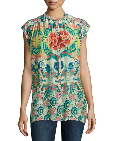 Sage Button-Front Printed Top