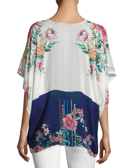 Athens Henley Floral-Print Top