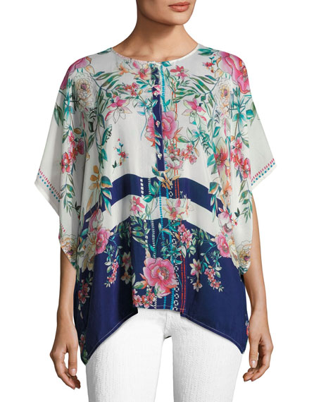 Johnny Was Athens Henley Floral-Print Top, Plus Size