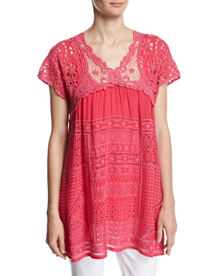 Johnny Was Terra Crocheted Georgette Blouse, Ultra Pink