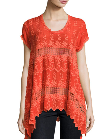 Lilano Short-Sleeve Georgette Tunic