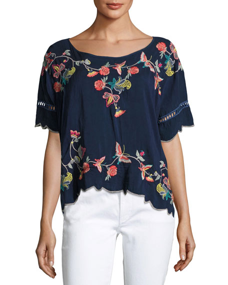 Johnny Was Alivia Embroidered Blouse, Blue Night