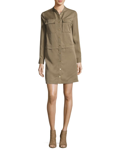 Long-Sleeve Snap-Front Tencel® Shirtdress