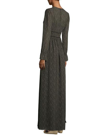 Long-Sleeve Piped V-Neck Maxi Dress