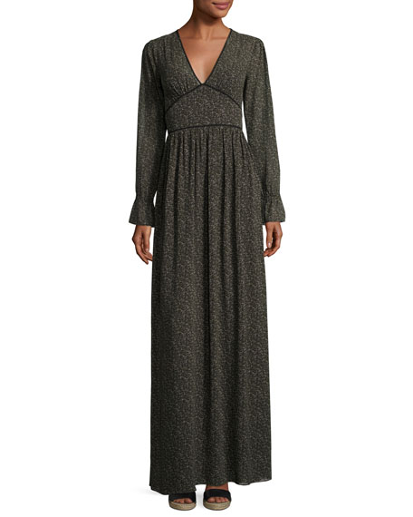 Long-Sleeve Piped V-Neck Maxi Dress