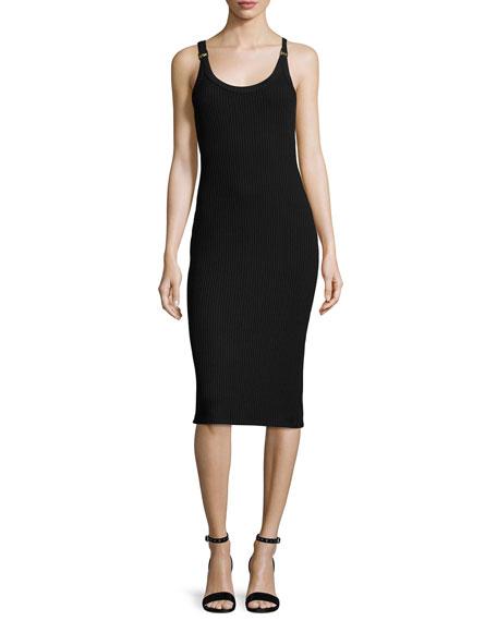 Sleeveless Ribbed Sheath Dress w/ Logo Rings