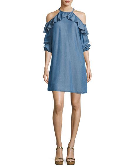 Cold-Shoulder Ruffled Chambray Dress