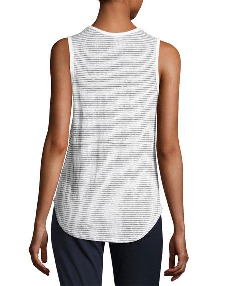 Linen Jersey Striped Sweetheart Tank, White/Black