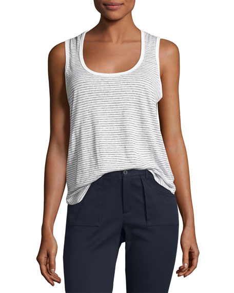 Linen Jersey Striped Sweetheart Tank, White/Black