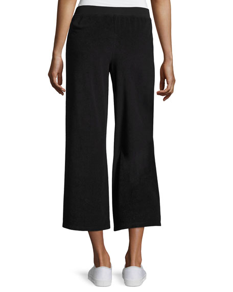 Terry Cropped Wide Leg Pants, Black