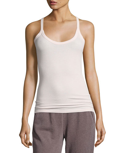 Modal Rib Scooped Muscle Tank, Pink