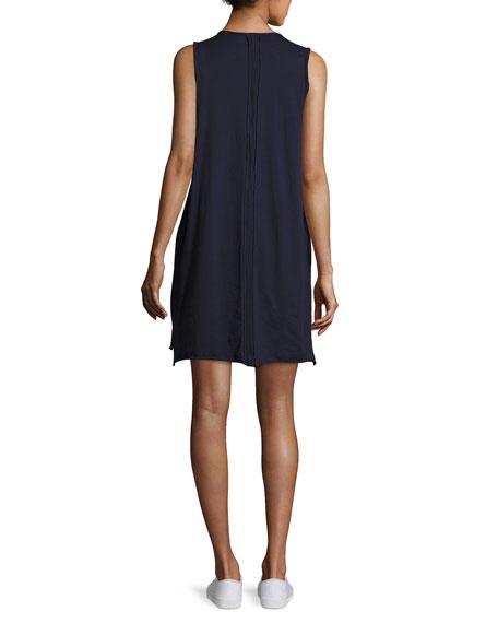 Jersey Raw-Cut Trim Tank Dress, Black