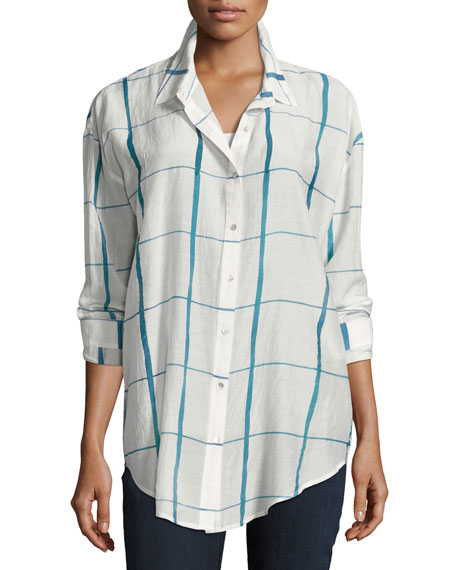 Eileen Fisher Hand-Painted Squares Organic Cotton Shirt, Medium
