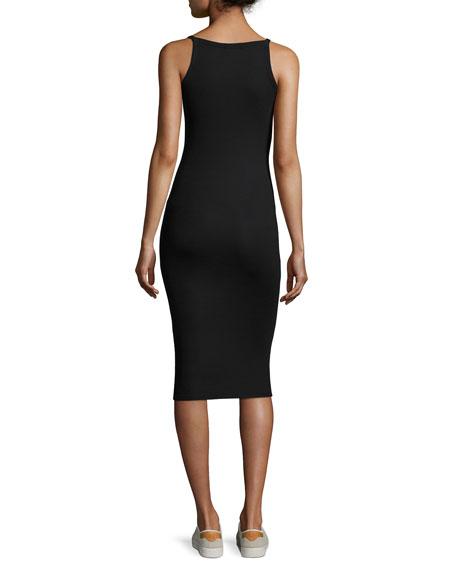 Modal Rib Midi Tank Dress, Black