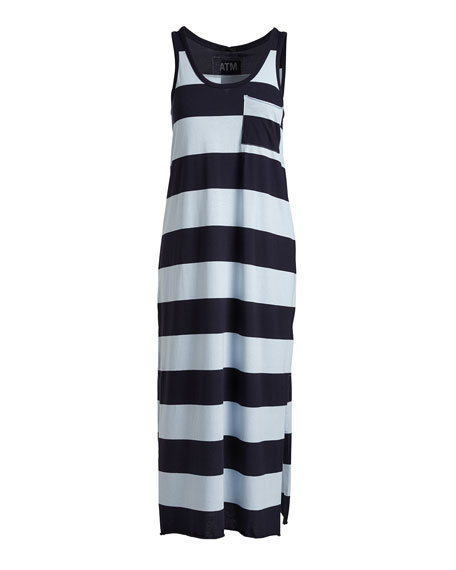 Striped Mercerized Jersey Dress, Blue Pattern