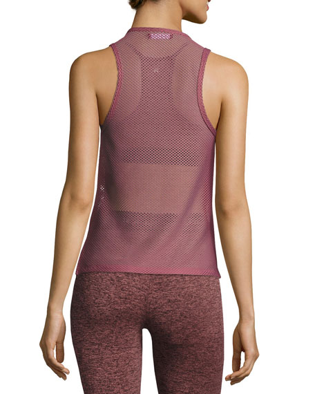 Crescentic Open-Mesh Crop Top, Pink/Gold