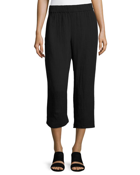Eileen Fisher Organic Cotton Gauze Cropped Pants, Black