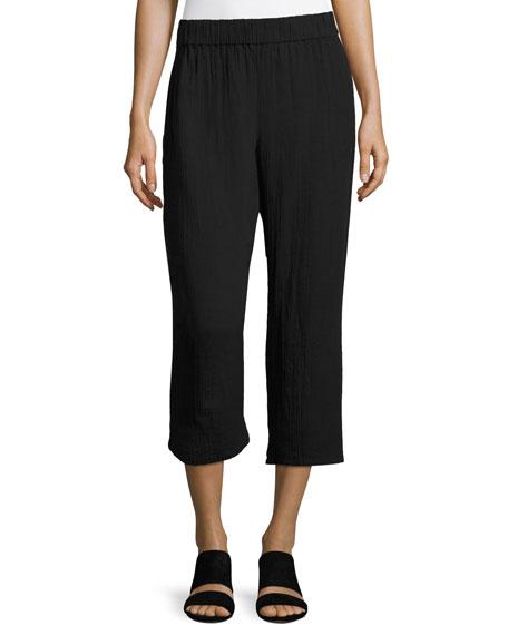 Eileen Fisher Organic Cotton Gauze Cropped Pants, Black,