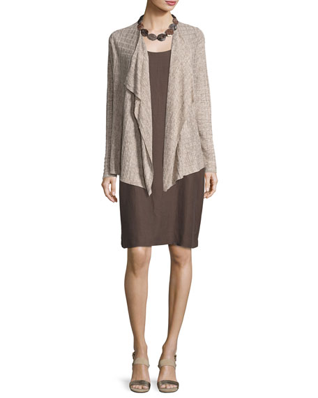 Sleeveless Drapey Linen-Blend Dress, Cobblestone