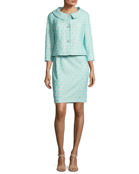Albert Nipon Floral Jacquard Dress w/Jacket, Blue/White