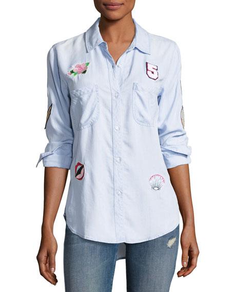 Rails Carter Button-Down Patchwork Denim Shirt, Blue
