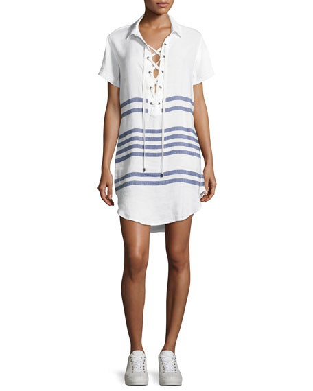 Rails Rocky Striped Short-Sleeves Lace-Front Dress, White Pattern